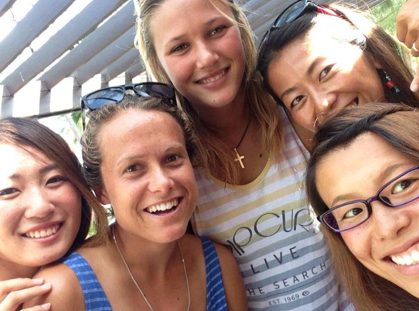 World Tour Surfers Minami Hatakeyama, Alexandra Rinder  Natsuki Yokote and Emma Cobb. Photo: Alexandra Rinder