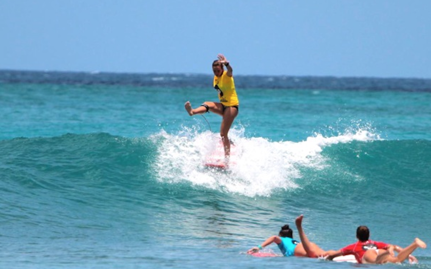 Rachael Tilly Surfing at Queens Beach  Photo by: John Oconnor