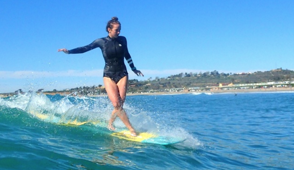 Rachael Tilly surfing at San Onofre, California Photo by: Masa Kaimana